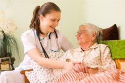 Nurse and elder talking
