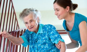 caregiver taking care of an elder